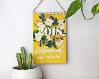 2018 Wall Calendar, 2018 Calendar, Botanical, Desk Calendar, Illustrated Calendar, floral, flowers, cactus, gifts for her, decorative