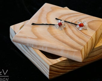 Red bobby Pins, black pins with rock stone and corals, wedding gift, anniversary gift, bridesmaid gift, prom gift, gift for her, flower gift