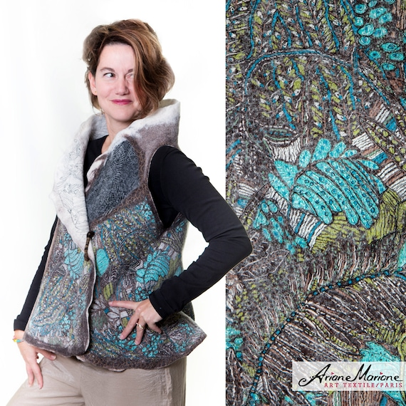 Nuno Felt Art Vest, Merino Wool Women Vest, Silk, Cotton Wearable Art, Ethnic Reversible women vest, Convertible Bolero, France, Paris