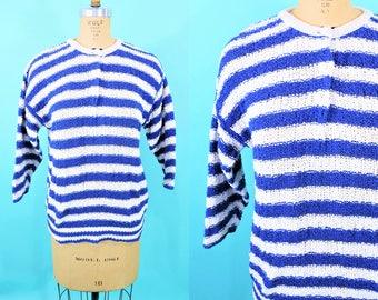 """ANNIVERSARY SALE // 1980s stripe sweater   blue white striped Diane Von Furstenberg cotton sweater   vintage 80s sweater   W 28"""""""