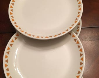 Homer Laughlin Dinner Plates Set of 6 Best China Restaurant Ware Retro White with Gold and Brown Triangles Design Border on Rim of Plate