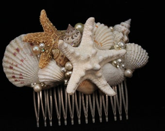 Glittered Starfish and Seashell Bridal Comb with Pearls and Rhinestones/ Destination Wedding/ Bride/ Beach Themed