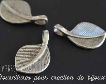 Tree leaf pendant charm silver 28 x 15 mm set of 10