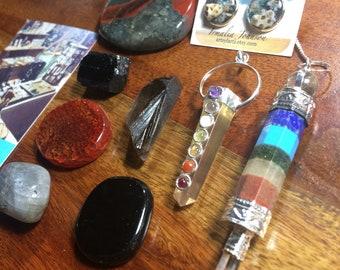 Sacred awakening bundle, somkey quartz, pendulum, resin earrings, tourmaline, reiki infused