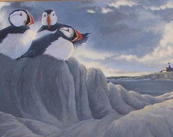 Original Puffin Painting | Bird Art | Oil Painting | Wildlife Art