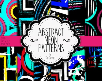 "Abstract digital paper : ""Abstract Neon Patterns"",colorful abstract patterns, neon and black, black digital paper, party digital paper"
