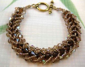 Chocolate Brown and Tan Crystal Bracelet - Woven Beads