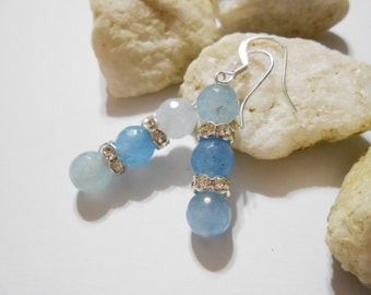 Aquamarine Earrings March Birthstone Bridal Jewelry Aquamarine Jewelry Mother's Day Gift Small Pale Blue Gemstone Earrings Crystal Earrings