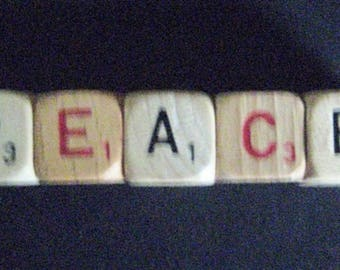"""Vintage Game Cubes-""""PEACE""""- wood game cubes for quaint display."""
