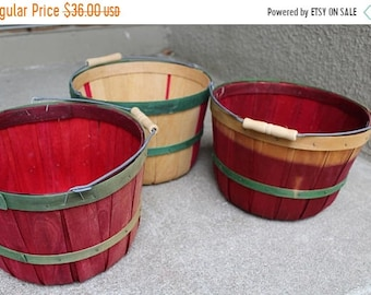 SALE SALE SALE Vintage Rustic Apple Baskets Set Three Instant Collection Home Decor Christmas Holiday Wooden Slat Handles Fruit Storage Orga