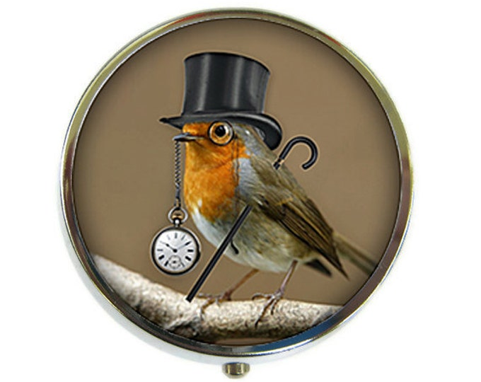 Dandy Bird Pill Box Stash Case Silver Steampunk