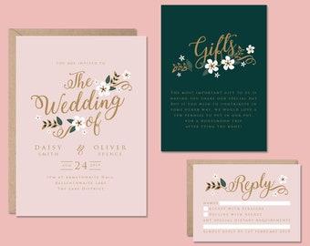 Floral Wedding Invitation, Elegant Wedding Invitation, Wedding Invitation Template, Wedding Invite Dusty Pink, Wedding Invite Printable