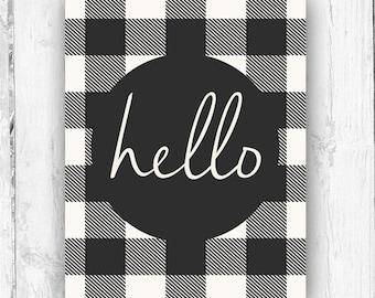 Hello Print, Wall Print, Plaid Print