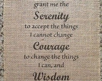 Primitive Burlap Panel Appliqué Sign Serenity Prayer Inspirational AA Pledge