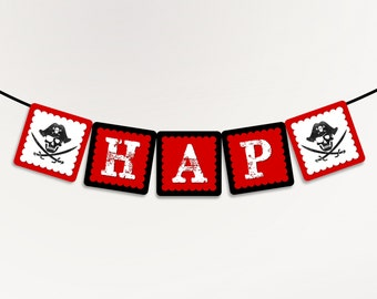 Pirate Party Decorations - Happy Birthday Banner