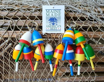 Key Chains, Miniature Maine Lobster Buoys, Wedding Favors, nautical gifts, set of 12