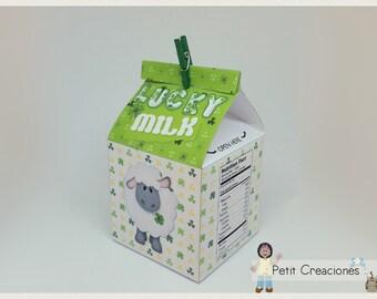 "PRINTABLE MILK Carton ""Lucky Milk"" DIY, gift idea, placeholders, favor box, treat box, gift box for Saint Patrick day"