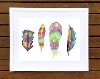 Watercolour Feathers Art Print