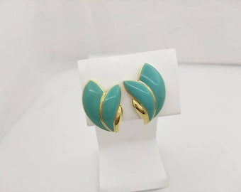 Trifari Sage Blue Gold  Clip earrings  signed Casual Modern