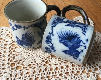 Vintage Pair of Coffee Tea Mugs Chicken Rooster Hen Blue Pattern on White with Doily