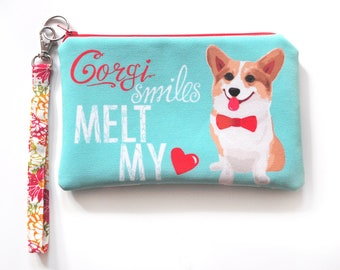 Corgi Pup Art Padded Pouch- Corgi Smiles Melt My Heart