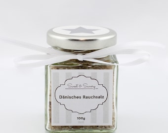 Danish smoked salt, salt, gourmet salt 100 g, ideal as a gift for grilling cooking for him and her