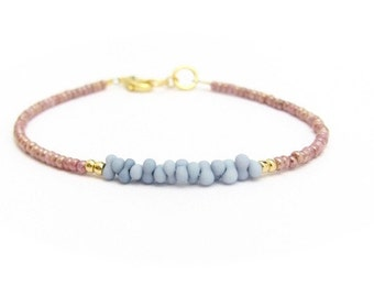 Friendship Bracelet, Denim Blue, Dusty Rose, Beaded Bracelet, Seed Bead Bracelet, Tiny Bracelet, Miss Ceces Jewels, Hawaii Jewelry