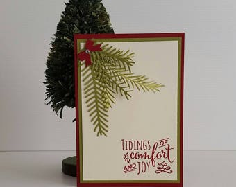 CHRISTMAS CARD holiday card, tidings of comfort & joy, pine leaves, elegant hand stamped, die cut, blank card, red green, family and friends