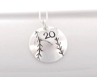 Hand Stamped Baseball Mom Necklace Softball Mom Necklace with Heart Charm stamped with Number