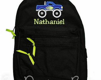 Boys Backpack, Monster Truck Backpack, Personalized Backpack, Monogrammed, Choose Your Colors, Custom Backpack, Boys Monster Truck Backpack