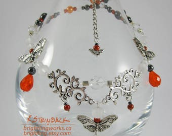 Monarch; Earring & Necklace Design in Hematite, Silver and Orange Inspired by the Natural Radiant Colors and Patterns of Monarch Butterflies