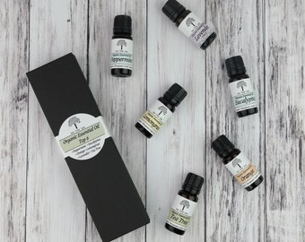 Organic Top 6 Essential Oils • Aromatherapy Starter Kit • Therapeutic Grade • Uncut • Pure • Peppermint • Eucalyptus • Lavender •
