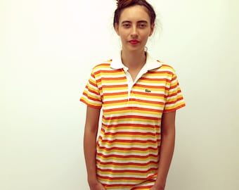 Vampire Weekend Izod Lacoste Polo // vintage boho hippie hipster dress blouse preppy top shirt bohemian 70s 1970s 80s striped 1980s // S/M