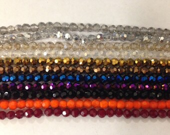 Round crystal beads,glass, 36 cut faceted, 6mm, 48beads