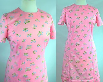 60s Plus Size Pink Mod Dress in Bright & Fun Spring Floral Print Easter Baby Shower 2XL