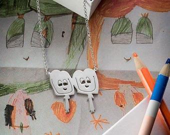 Kids Drawings Jewelry Silver Personalized Handmade Jewelry Gift