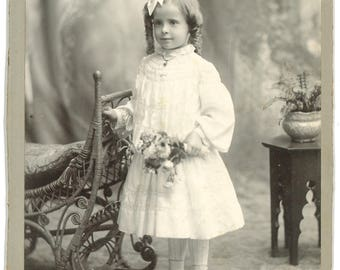 Beautiful cabinet Card of a little girl holding flowers
