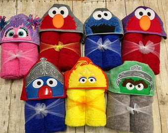 Sesame Street Hooded Towels/ Bert and Ernie Hooded Towels/ Elmo Hooded Towel/ Big Bird Hooded Towel/ Grover Hooded towel/ Oscar the Grouch
