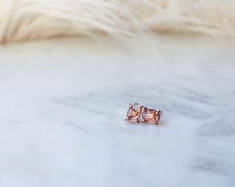 Rose Cut Peach Tourmaline Stud Earrings