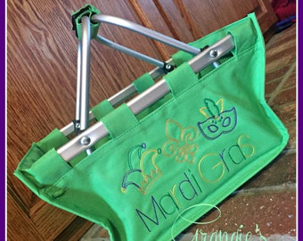 Customized Mardi Gras Market Tote - Great for Bead Catching at Parades