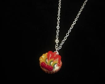 miniature fruit tart clay charm necklace foodie jewelry thanksgiving gift, gift for her polymer clay hand made one of a kind Kawaii charm