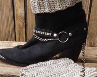 Crochet Ribbed Boot Cuffs-One Size Fits Most-Camel