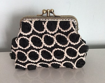 Black 3D Rosette Lace Clutch with Double Frame Free Shipping