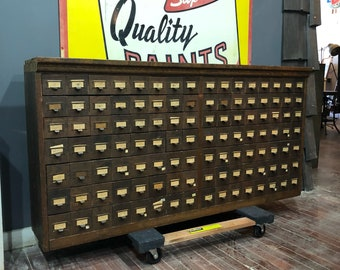 Vintage Oak W C Heller style parts cabinet with 112 oak and galvanized metal drawers