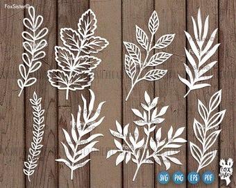 Leaf Svg, Branches Svg File, 8 Designs SET 1  hand drawn svg   Wreath elements svg   Nature svg   Leaves Cutting Svg   Cricut   Home Decor