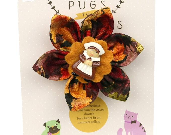 Autumn Dog Bow - Pilgrim Girl on Autumn Leaves - Flower - Collar Blossom - Medium Size