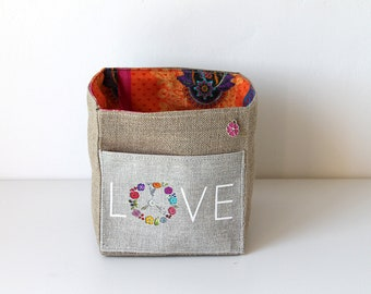 LOVE square illustrated linen basket