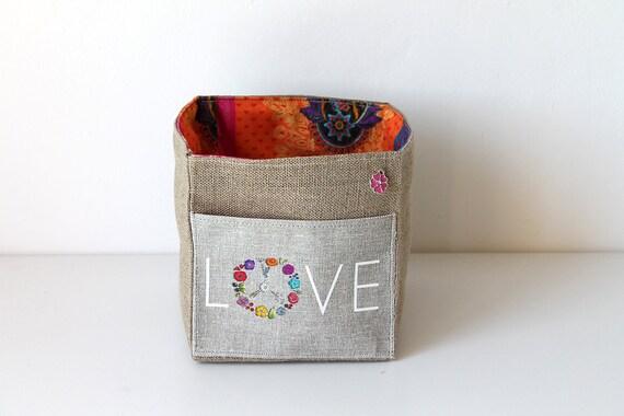 LOVE square illustrated linen basket