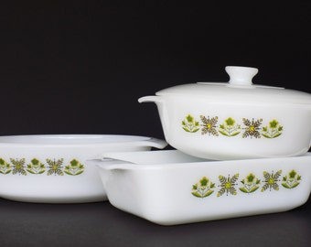 Fire King Baking Dishes - Set of 3 - Meadow Green - Covered Caserole with Milk Glass Lid, Oval Casserole, and Deep Dish Loaf Pan - 4600 Line