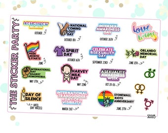 LGBTQ+ Awareness Days Planner Stickers